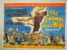 Farmer Takes a Wife, Original UK Quad Poster, Betty Grable, Dale Robertson, '53